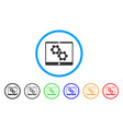 tablet settings gears rounded icon vector image