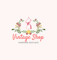 tailor sewing vintage mannequin fashion logo vector image vector image