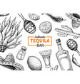 tequila bar label mexican alcohol drink vector image vector image