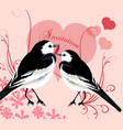 valentine invitation card with couple of birds vector image
