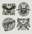 vintage monochrome military logos vector image vector image