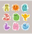 viruses and bacteria cartoon stickers set vector image