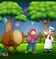 young muslim boy and girl celebrating ramadan vector image vector image