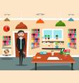 business man in office businessman cartoon vector image