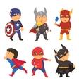 Cartoon superhero costume kids vector image
