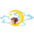 cute fairy sitting on moon vector image