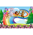 A group of animals at the rainbow vector image vector image