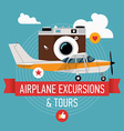 Airplane Excursions and Tours Poster vector image vector image