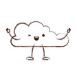 animated kawaii cloud icon flat in monochrome vector image vector image