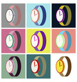 assembly flat icons wrist watch vector image vector image