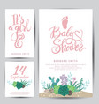 bashower sticker with succulents vector image vector image