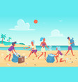 beach cleaning students people flat vector image vector image