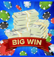 big winner poster you win gambling poker vector image vector image