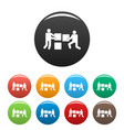 building teamwork icons set color vector image