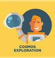 cosmos exploration promo poster with astronaut in vector image vector image