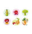 Cute happy vegetables characters set funny