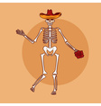 dancing skeleton in sombrero with flower vector image vector image