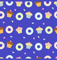delicious cupcakes and donut seamless pattern vector image vector image
