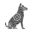 dog ornaments animal drawing with floral ornament vector image vector image