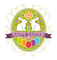 easter label with color eggs rabbit and flowers vector image