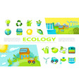 flat ecology elements collection vector image vector image