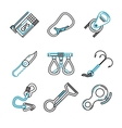 Flat line icons for rock climbing equipment vector image