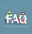 flat women and men with letters symbols faq vector image