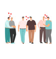gay cartoon couples love and hug isolated vector image