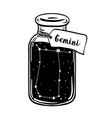 glass bottle with zodiac gemini constellation vector image
