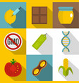 gmo product icon set flat style vector image vector image