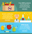 gmo products banner horizontal set flat style vector image vector image
