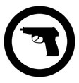 hand gun icon black color in circle vector image vector image