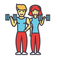happy couple in fitness gym fit man and woman vector image