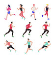 jogging and running people runners in motion vector image