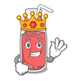 king strawberry smoothie mascot cartoon vector image vector image