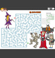 maze game with cartoon kids on halloween time vector image vector image
