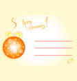 merry christmas card in orange colors vector image