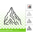 mountain simple black line peak mount icon vector image vector image