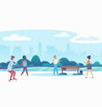 people walking and relaxing in a beautiful urban vector image vector image