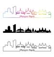 Phnom Penh skyline linear style with rainbow