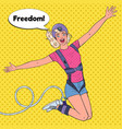 pop art excited beautiful woman jumping bungee vector image