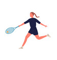 professional female big tennis player hitting ball vector image