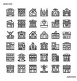 real estate outline icons perfect pixel vector image
