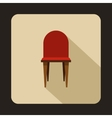 Red wooden chair icon flat style vector image vector image