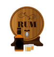 rum wooden barrel with bottle and shots in flat vector image vector image