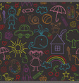 Seamless pattern with child drawings black