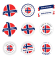 set made in norway labels and ribbons vector image