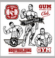 set of bodybuilding emblems with sport equipment vector image