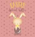 set of cute easter bunny easter eggs and flowers vector image