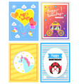 set of cute festive cards happy birthday princess vector image vector image